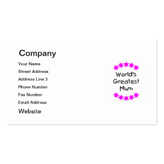 World's Greatest Mum (pink stars) Pack Of Standard Business Cards