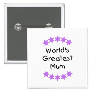 World's Greatest Mum (purple stars) Pins