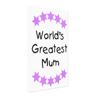 World's Greatest Mum (purple stars) Gallery Wrapped Canvas