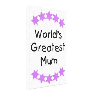 World's Greatest Mum (purple stars) Gallery Wrap Canvas