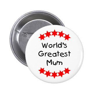 World's Greatest Mum (red stars) Pin