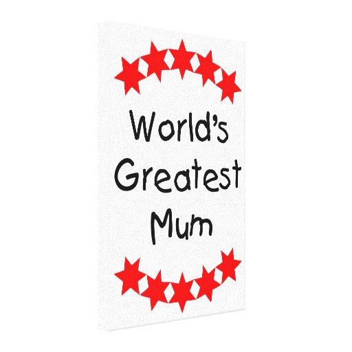 World's Greatest Mum (red stars) Gallery Wrap Canvas