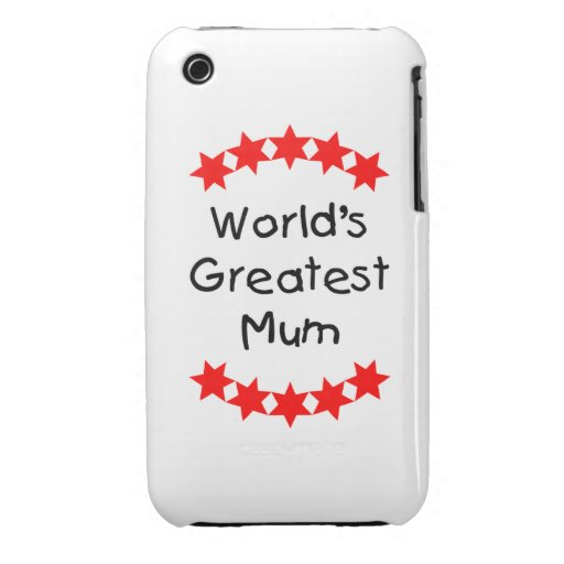 World's Greatest Mum (red stars) iPhone 3 Case-Mate Cases