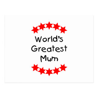 World's Greatest Mum (red stars) Postcard