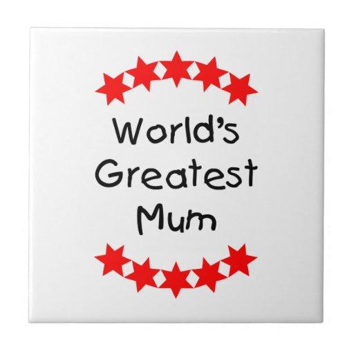 World's Greatest Mum (red stars) Ceramic Tile