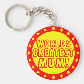 Worlds Greatest Mum Red & Yellow Keychain
