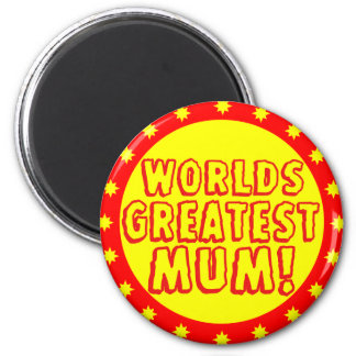 Worlds Greatest Mum Red & Yellow Magnet