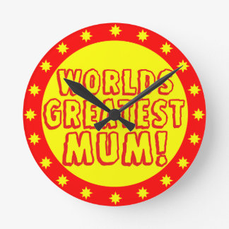 Worlds Greatest Mum Red & Yellow Wall Clock