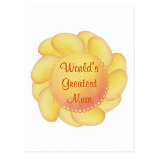 World's Greatest Mum (yellow flower) Postcard