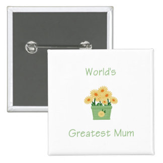 World's Greatest Mum (yellow flowers) Button