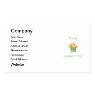 World's Greatest Mum (yellow flowers) Pack Of Standard Business Cards