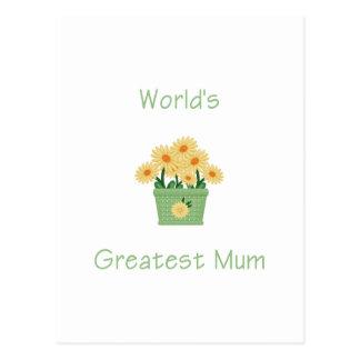 World's Greatest Mum (yellow flowers) Postcard