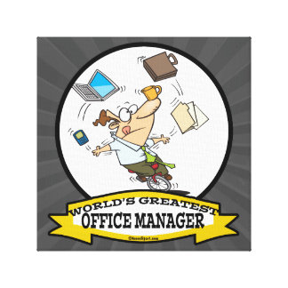 WORLDS GREATEST OFFICE MANAGER MALE CARTOON GALLERY WRAP CANVAS