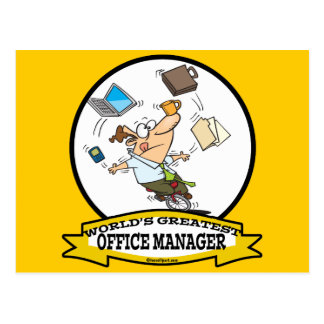 WORLDS GREATEST OFFICE MANAGER MALE CARTOON POSTCARD