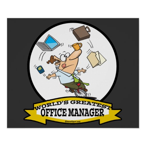WORLDS GREATEST OFFICE MANAGER MALE CARTOON POSTERS