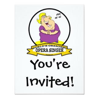 WORLDS GREATEST OPERA SINGER FAT LADY CARTOON 11 CM X 14 CM INVITATION CARD