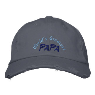 World's Greatest Papa Distressed Cap Embroidered Hat