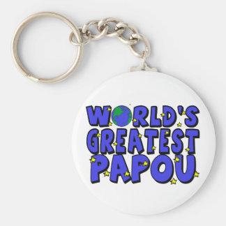 World's Greatest Papou Basic Round Button Key Ring
