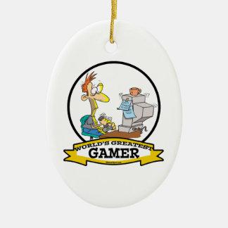 WORLDS GREATEST PC GAMER TEEN CARTOON CERAMIC ORNAMENT