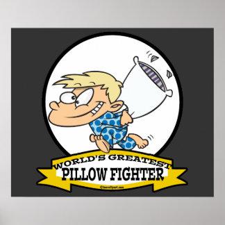 WORLDS GREATEST PILLOW FIGHTER KIDS CARTOON PRINT