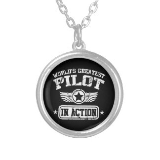 World's Greatest Pilot In Action Silver Plated Necklace