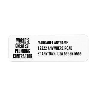 Worlds Greatest Plumbing Contractor Return Address Label