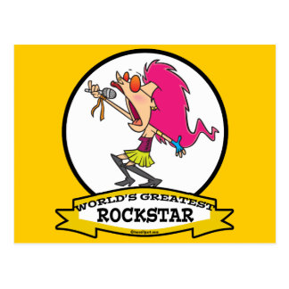 WORLDS GREATEST ROCKSTAR FEMALE CARTOON POSTCARD