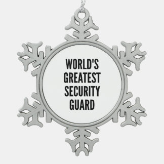 Worlds Greatest Security Guard Snowflake Pewter Christmas Ornament