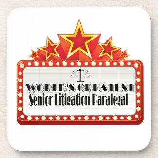 World's Greatest Senior Litigation Paralegal Beverage Coasters