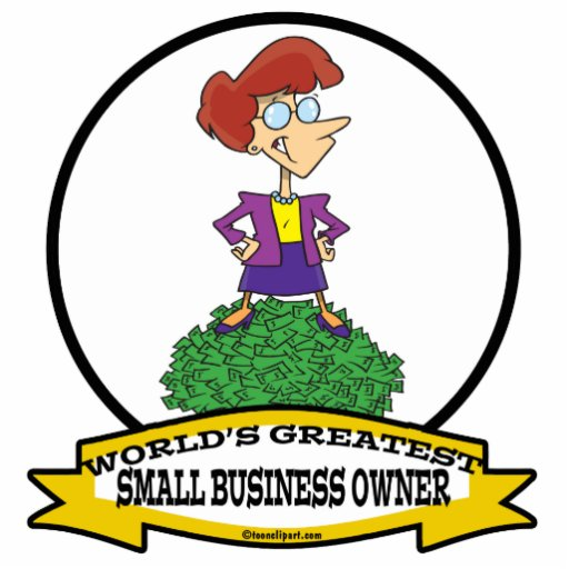WORLDS GREATEST SMALL BUSINESS OWNER WOMAN CARTOON CUT OUT