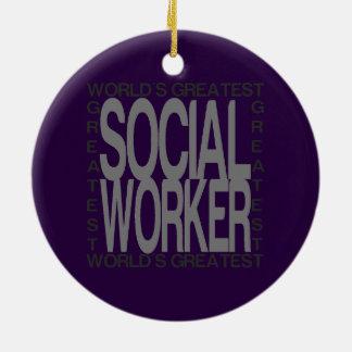 Worlds Greatest Social Worker Ceramic Ornament