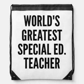 Worlds Greatest Special Education Teacher Drawstring Backpacks