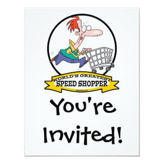 WORLDS GREATEST SPEED SHOPPER MEN CARTOON 11 CM X 14 CM INVITATION CARD