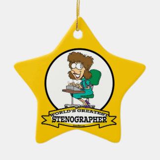 WORLDS GREATEST STENOGRAPHER WOMEN CARTOON CERAMIC STAR DECORATION