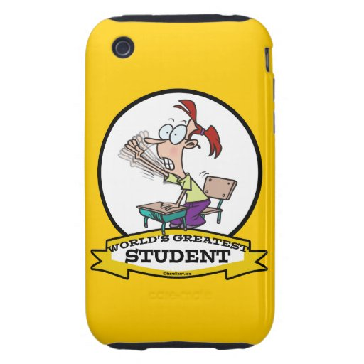 WORLDS GREATEST STUDENT GIRL CARTOON TOUGH iPhone 3 COVERS
