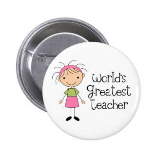 Worlds Greatest Teacher 6 Cm Round Badge