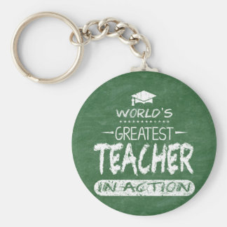 World's Greatest Teacher In Action Key Ring