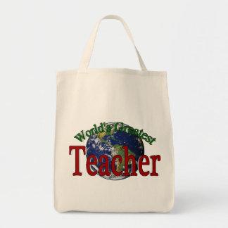 World's Greatest Teacher Grocery Tote Bag