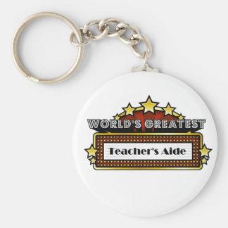 World's Greatest Teacher's Aide Basic Round Button Key Ring