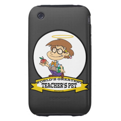 WORLDS GREATEST TEACHERS PET BOY II CARTOON iPhone 3 TOUGH COVERS