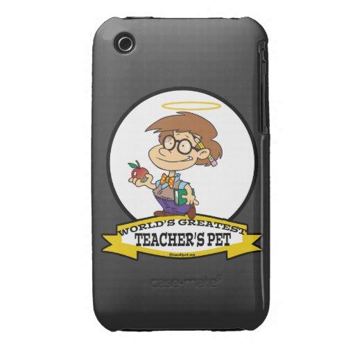 WORLDS GREATEST TEACHERS PET BOY II CARTOON iPhone 3 CASE