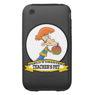 WORLDS GREATEST TEACHERS PET CARTOON iPhone 3 TOUGH CASE