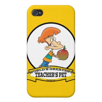 WORLDS GREATEST TEACHERS PET CARTOON iPhone 4 CASES