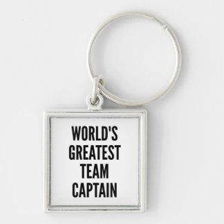 Worlds Greatest Team Captain Silver-Colored Square Key Ring