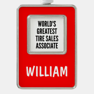 Worlds Greatest Tire Sales Associate Silver Plated Framed Ornament