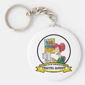 WORLDS GREATEST TRAVEL AGENT WOMEN CARTOON BASIC ROUND BUTTON KEY RING