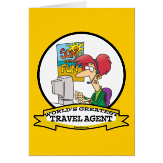 WORLDS GREATEST TRAVEL AGENT WOMEN CARTOON GREETING CARD