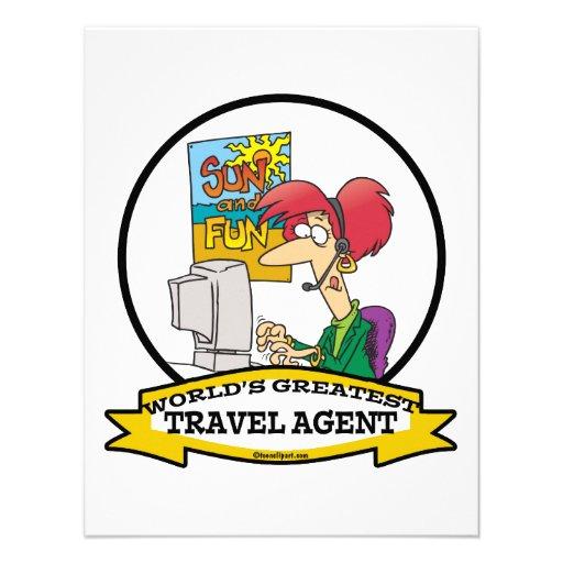 WORLDS GREATEST TRAVEL AGENT WOMEN CARTOON PERSONALIZED INVITE