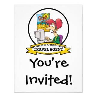WORLDS GREATEST TRAVEL AGENT WOMEN CARTOON CUSTOM INVITES