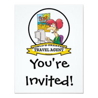 WORLDS GREATEST TRAVEL AGENT WOMEN CARTOON 11 CM X 14 CM INVITATION CARD